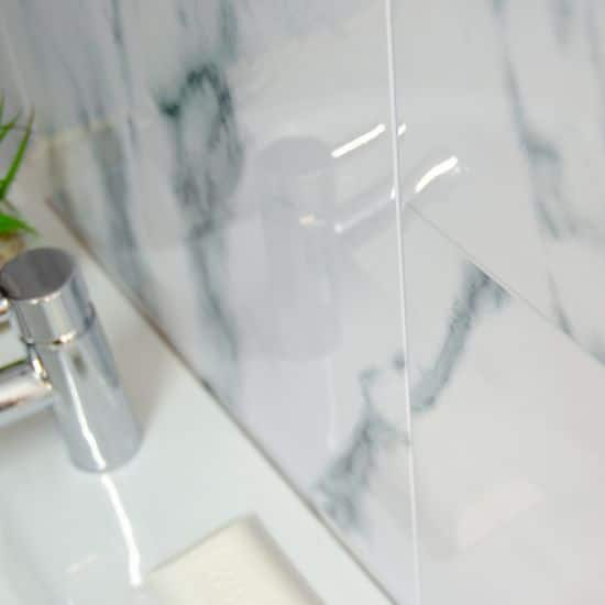Gray White Veined Marble Bathrooms: Grey Veined Marble Tile Panel