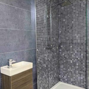 Blue Mosiac Shower Panel