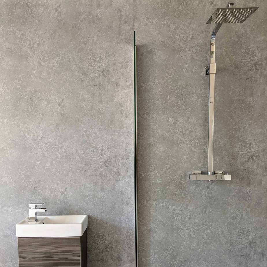 DIY Materials Grey Marble Tile Groove Bathroom Wall Panels Shower Cladding Silicone PVC Trims Medicareresources.org
