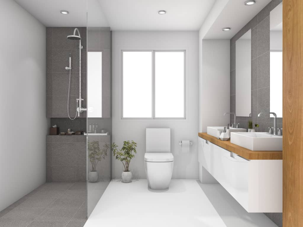 white bathroom with open plan shower and large mirrors